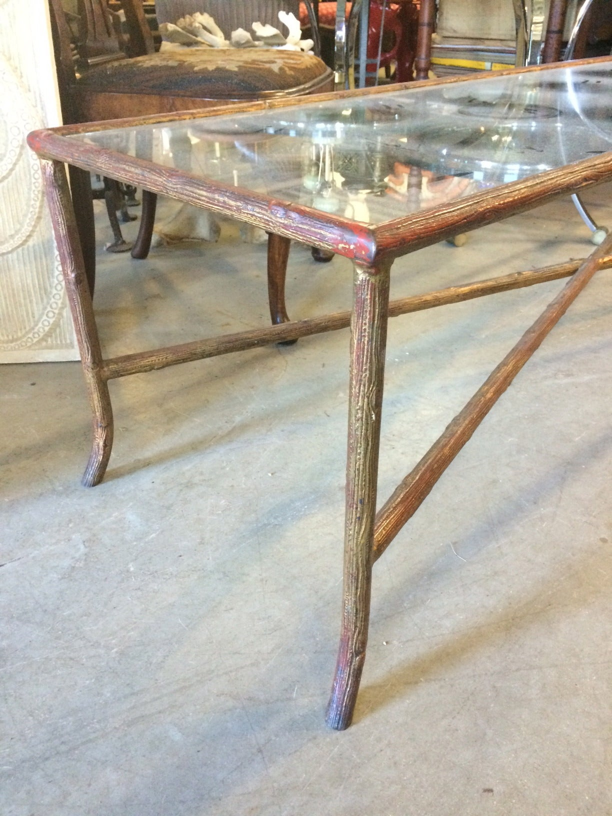 Long narrow bagues style faux bois coffee table at 1stdibs for Long slim coffee table
