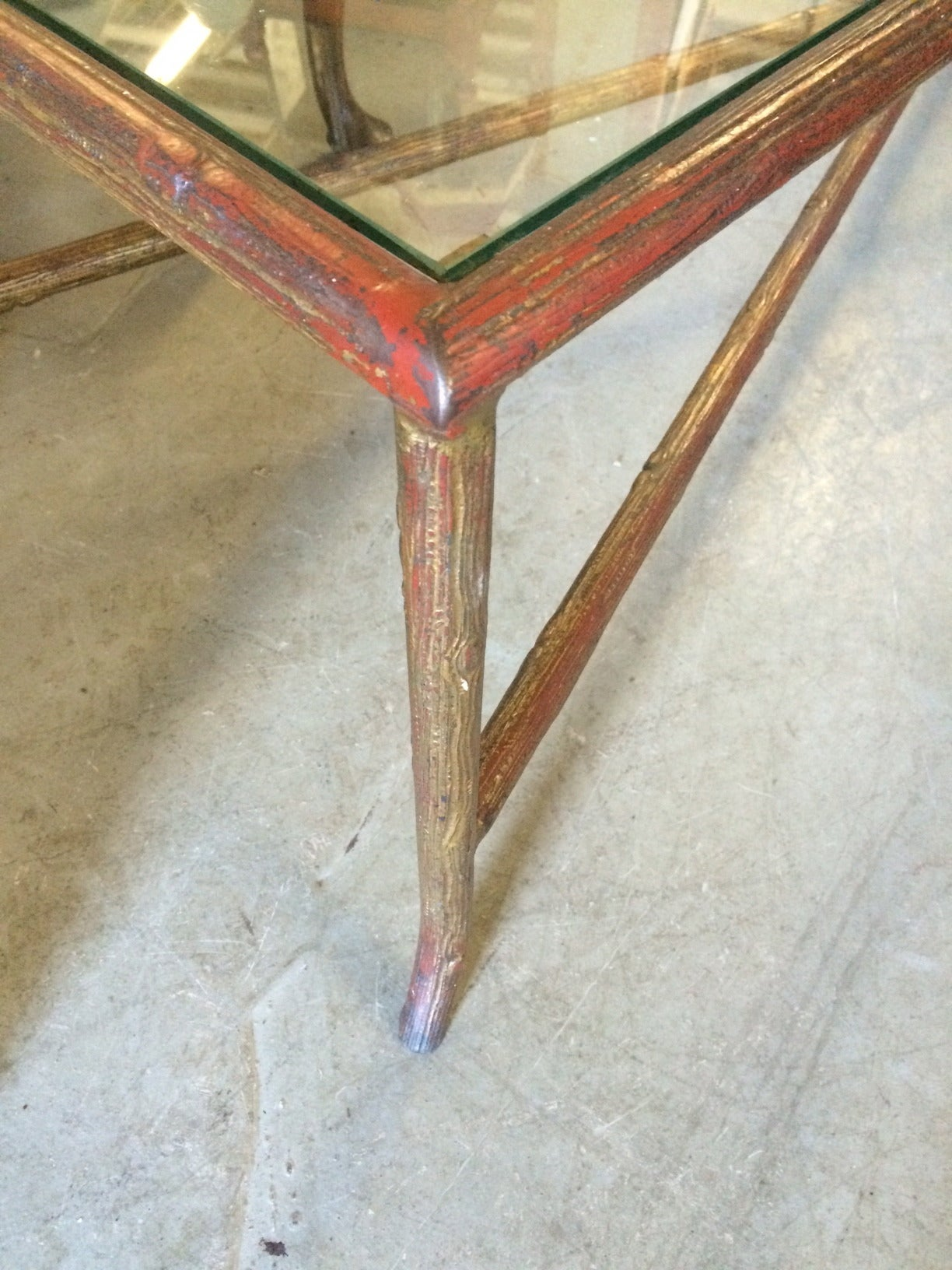 Long narrow bagues style faux bois coffee table at 1stdibs for Long thin coffee table