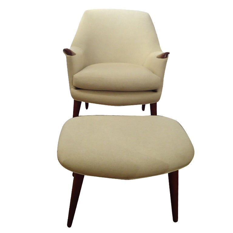 Danish Modern Upholstered Chair And Ottoman At 1stdibs