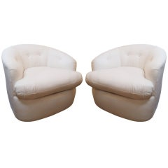 Chic Pair of Barrel shaped Swivel Club Chairs