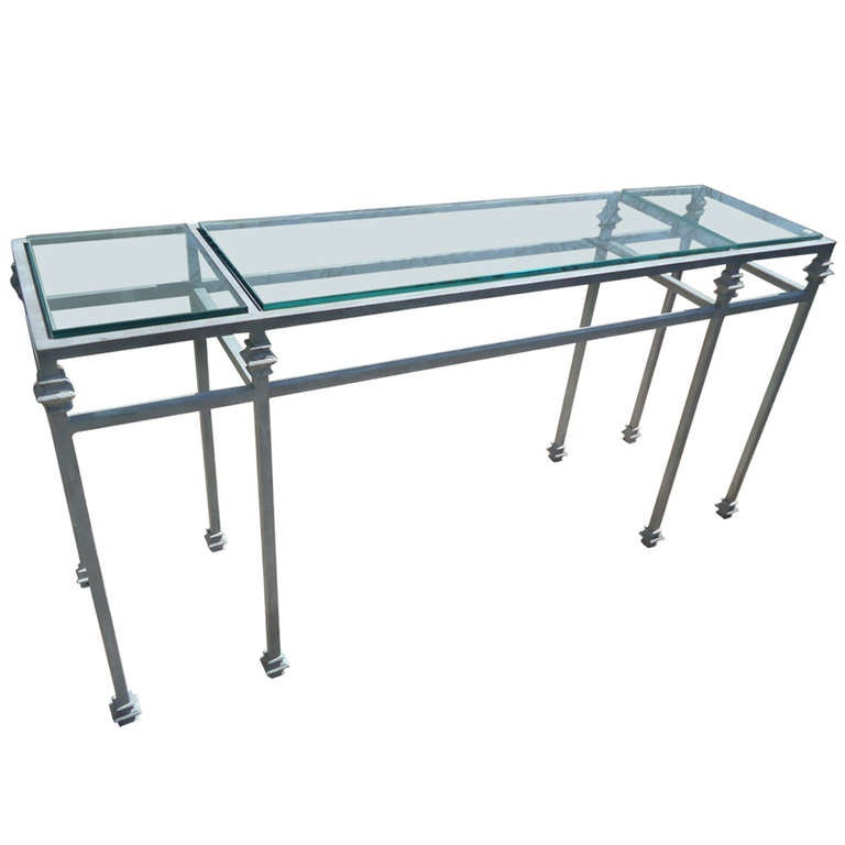 Iron Console Table With Zinc Grey Finish At 1stdibs