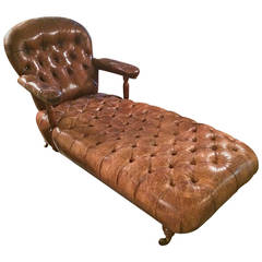 Rare Aristocratic English Leather Button Tufted Chaise Longue