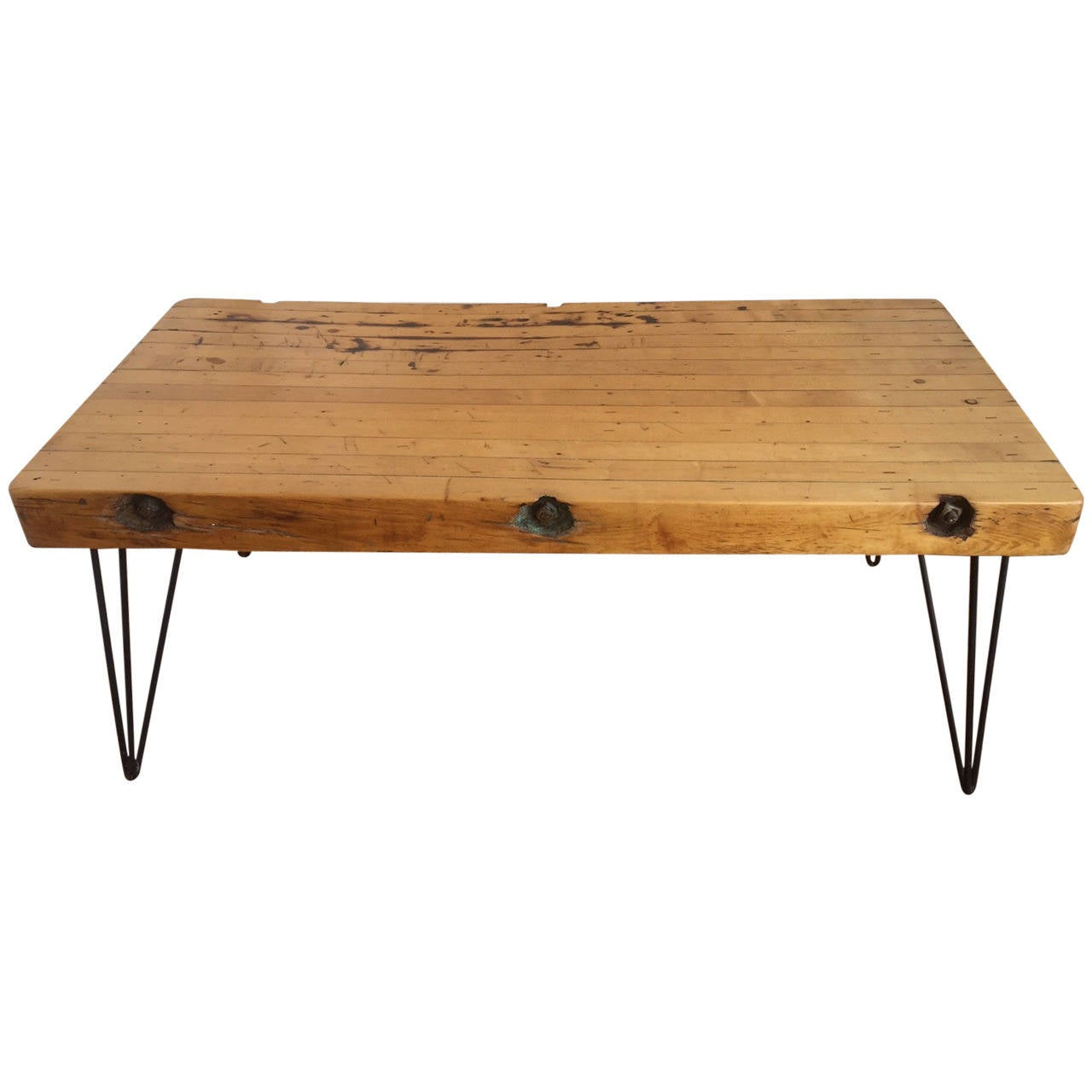 Handmade reclaimed butcher block rustic coffee table at 1stdibs Coffee tables rustic