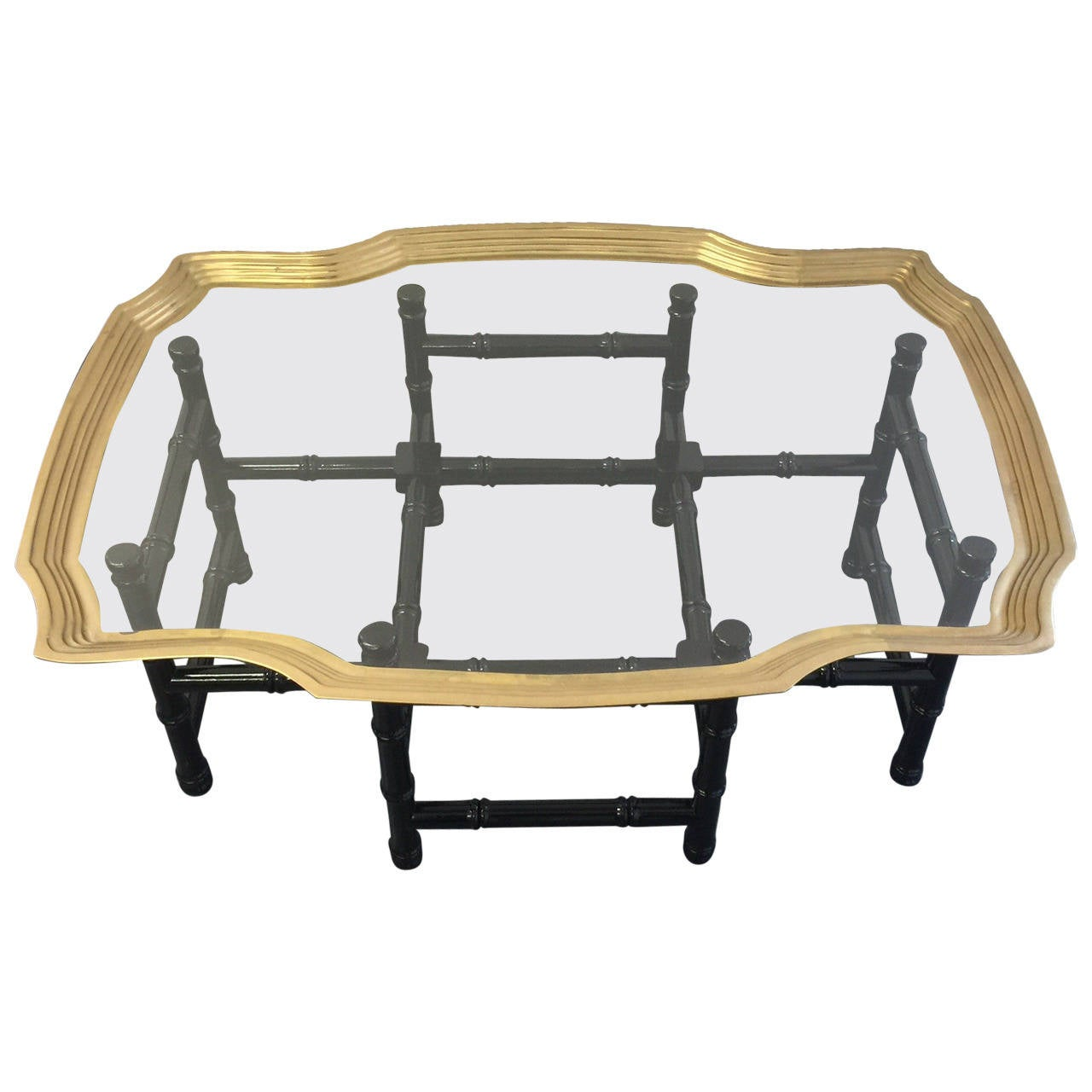Baker Style Brass And Glass Tray Top Coffee Table At 1stdibs