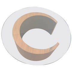 Mid Century Canadian Teak Wood, Crescent-Shaped Coffee Table