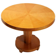 Round Tiger Maple Center or Club Table by Baker
