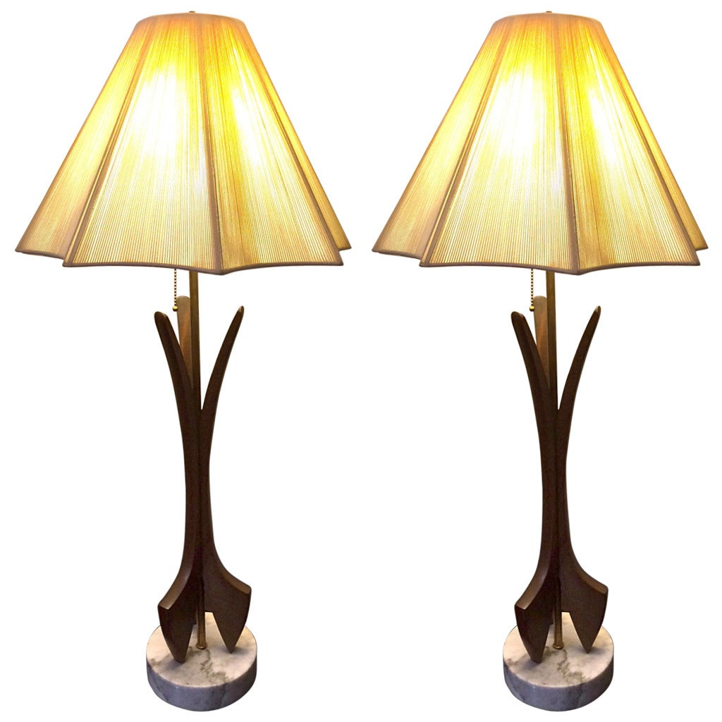 pair of mid century modern wood and marble lamps at 1stdibs