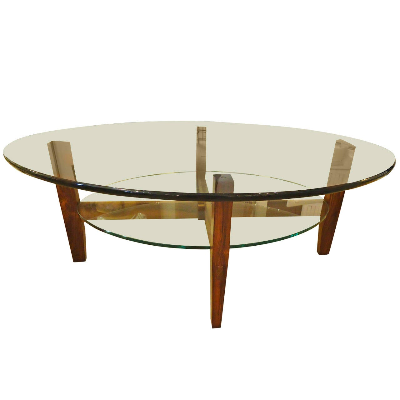 Two Tier Rosewood And Oval Glass Coffee Cocktail Table At