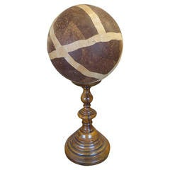 Masculine Wooden Orb/Globe on Custom Stand