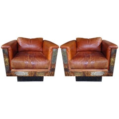 Pair of Paul Evans Studio Custom Cube Chairs