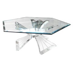 Midcentury Sculptural Lucite Base Coffee table