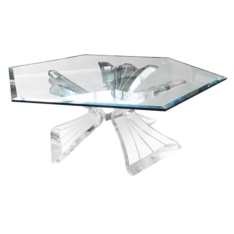 Midcentury Sculptural Lucite Base Coffee Table At 1stdibs