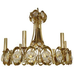 Modern Sciolari Gold and Cut Crystal Fixture