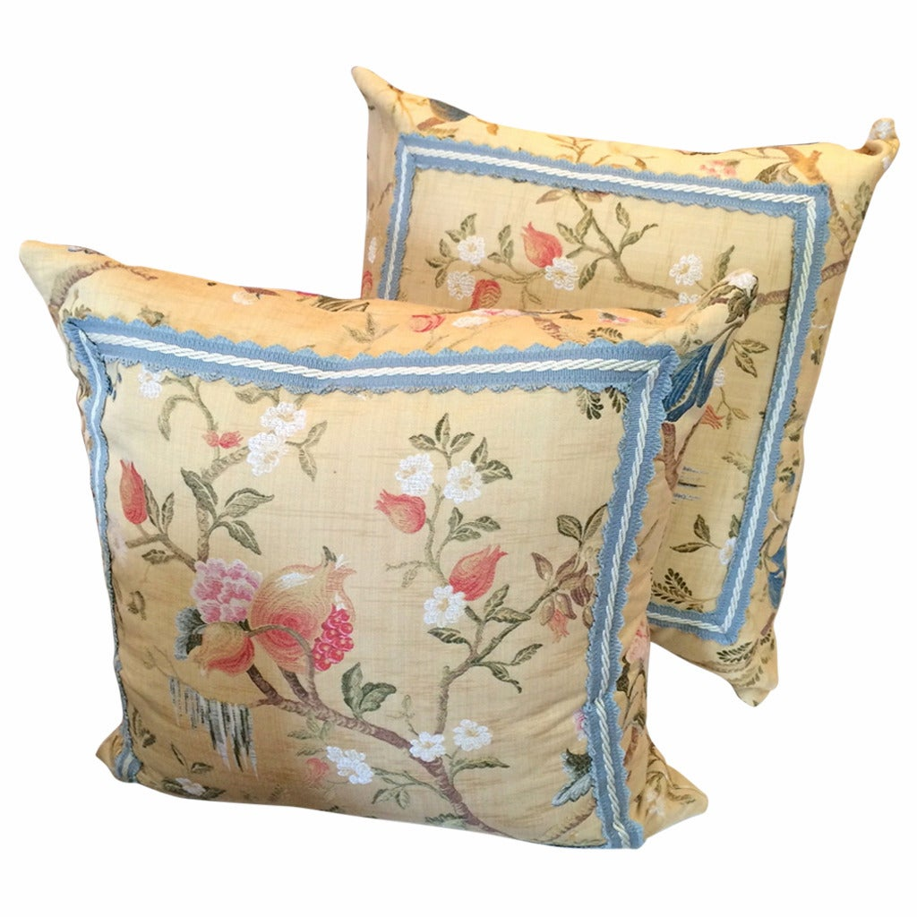Pair of Gorgeous Vintage Scalamandre Fabric Pillows For Sale
