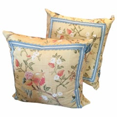 Pair of Gorgeous Vintage Scalamandre Fabric Pillows