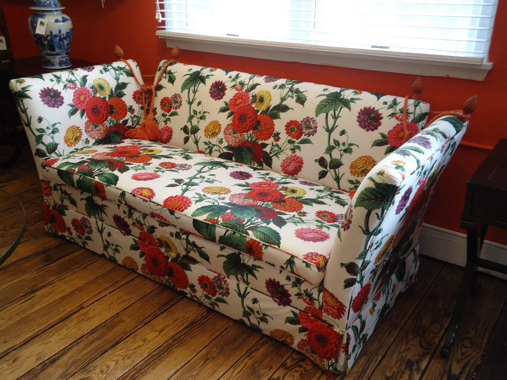 American Knole style sofa with Lee Jofa Floral Fabric For Sale