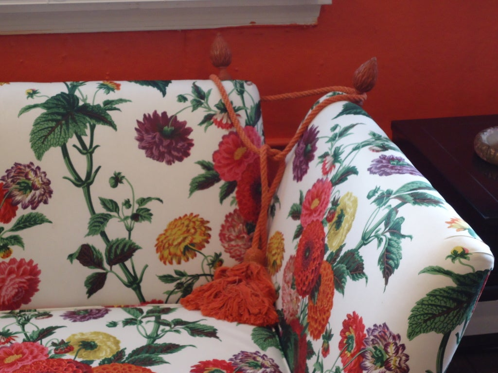 20th Century Knole style sofa with Lee Jofa Floral Fabric For Sale