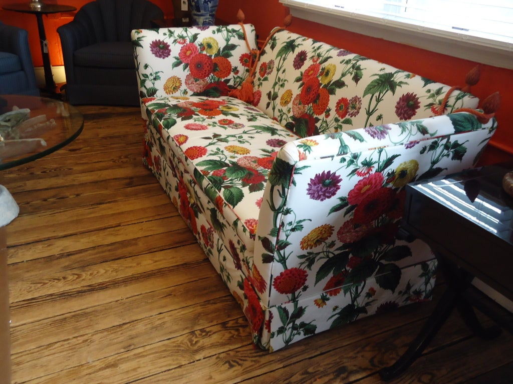Knole style sofa with lee jofa floral fabric at 1stdibs Fabric sofas and loveseats