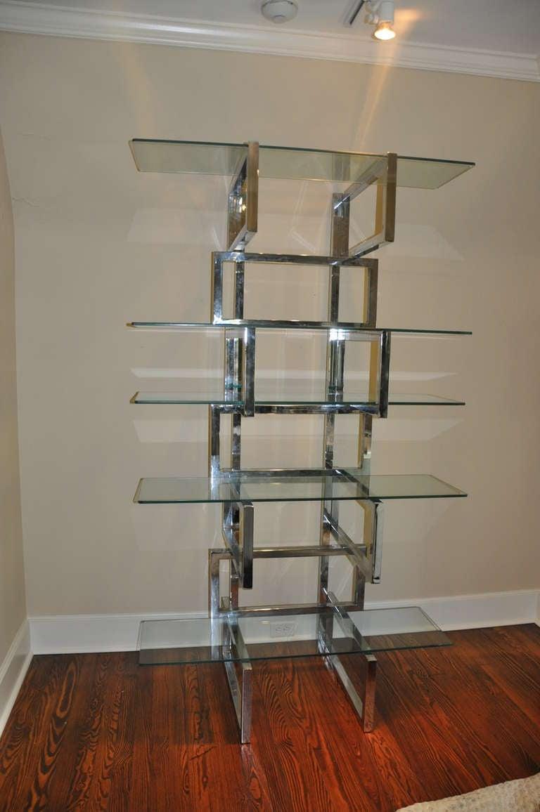 chrome and glass modern etagere at 1stdibs. Black Bedroom Furniture Sets. Home Design Ideas