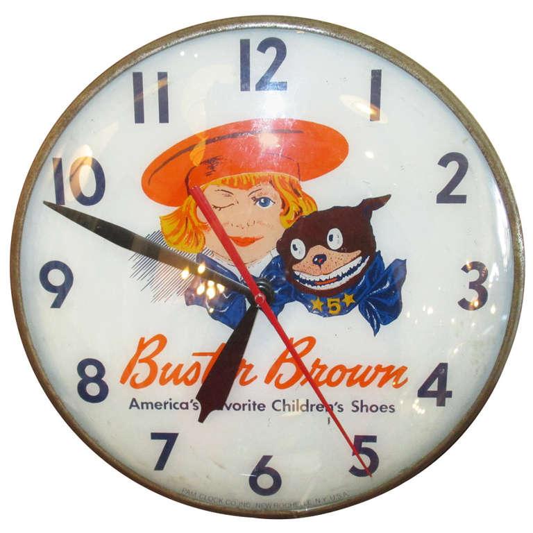 Rare Vintage Buster Brown Wall Clock At 1stdibs
