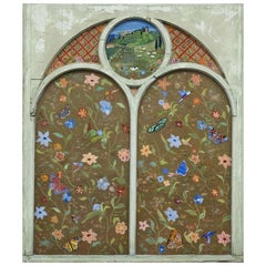 Large Reverse Painting on Vintage Church Window