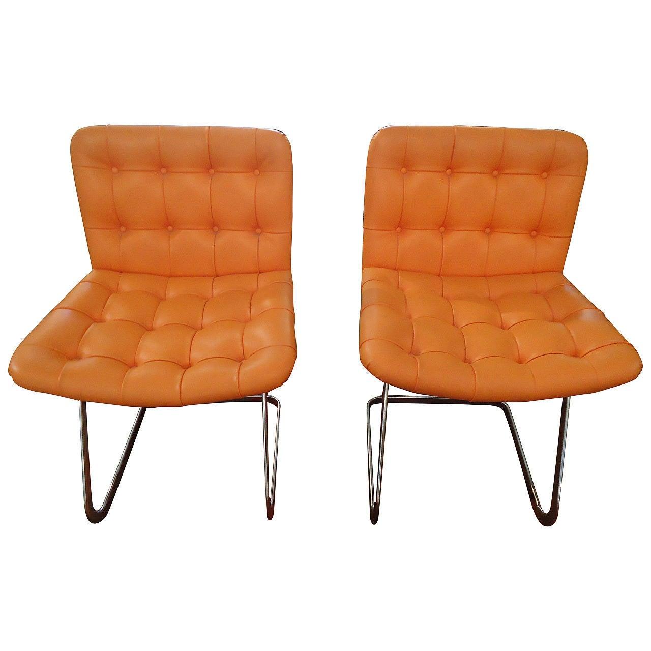 pair of hermes orange mid century modern stendig chairs at 1stdibs