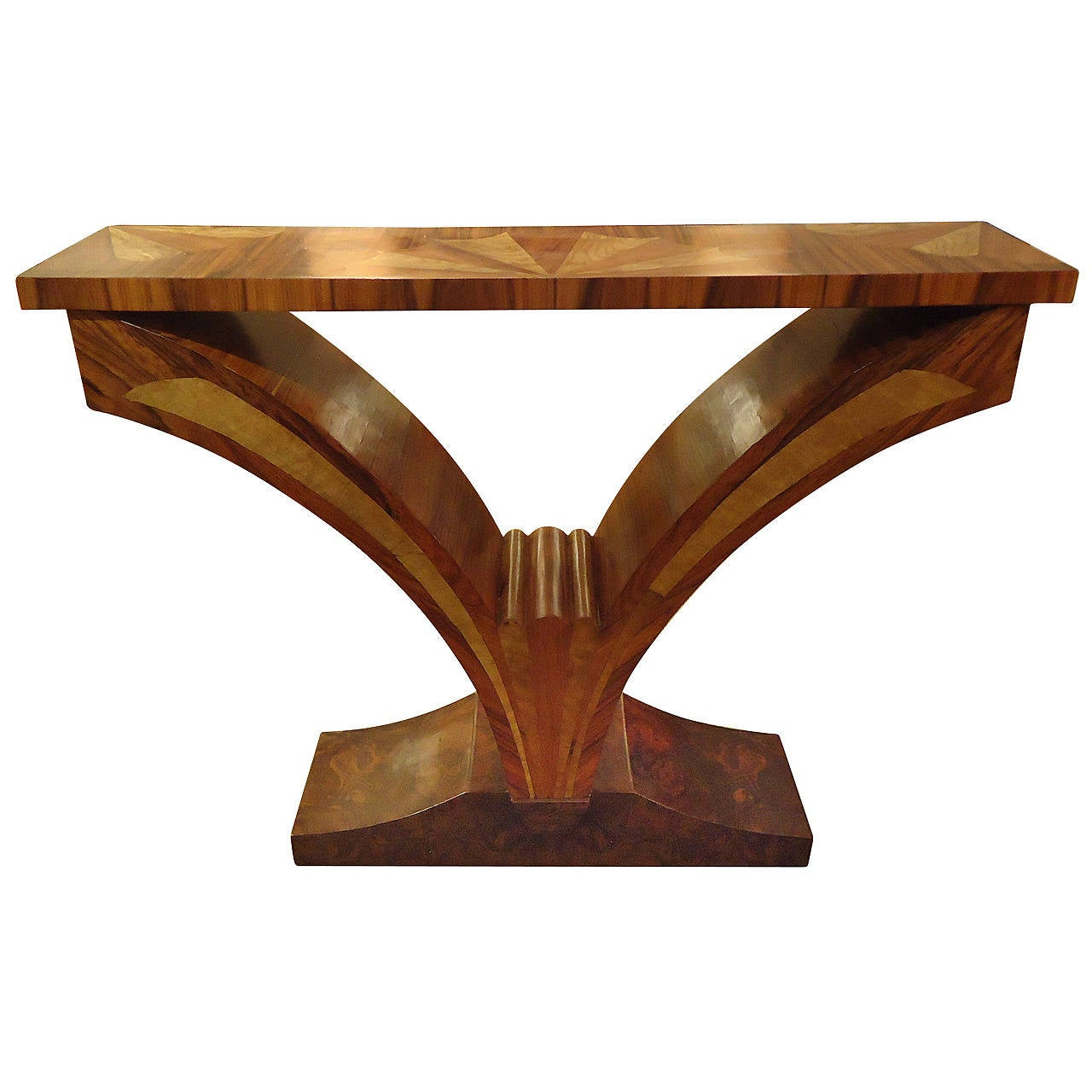 Deco Style Custom Exotic Wood Console At 1stdibs