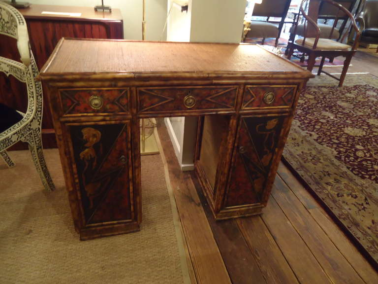French Bamboo And Rattan Chinoiserie Dressing Table At 1stdibs