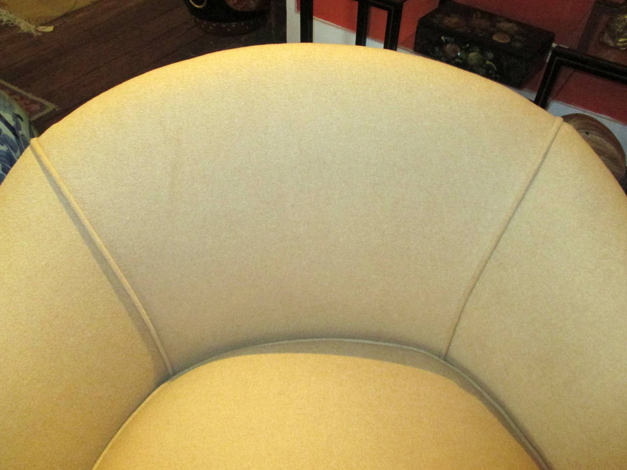 Cool Pair of Barrel Shaped Swivel Lounge Chairs at 1stdibs