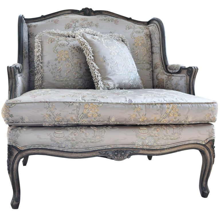 French style Wing Chair and Ottoman at 1stdibs
