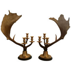 Pair of Faux Antler and Brass Candlesticks