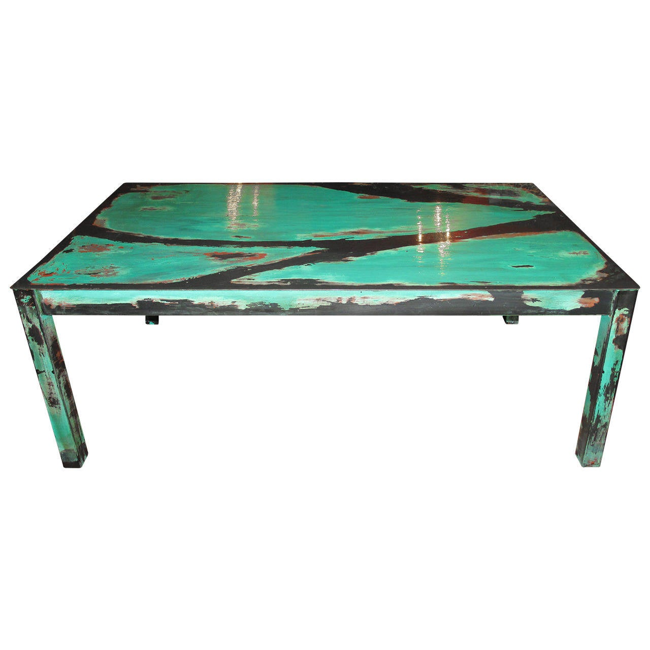 Artisan Crafted Turquoise Metal Coffee Table At 1stdibs