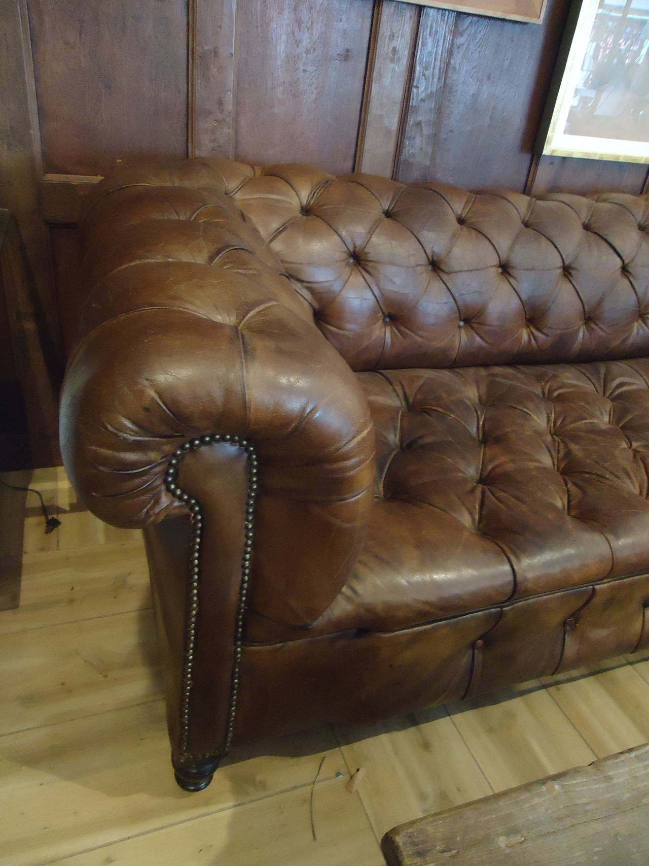 Early 20th Century Distressed Leather Chesterfield Sofa at 1stdibs