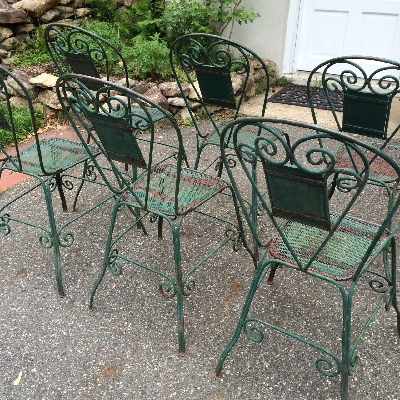Set Of 6 Rare Vintage Green Iron Dining Chairs At 1stdibs
