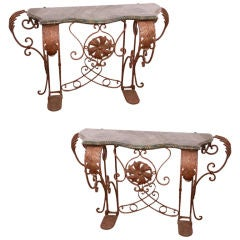 Marble Top Iron Consoles Pair