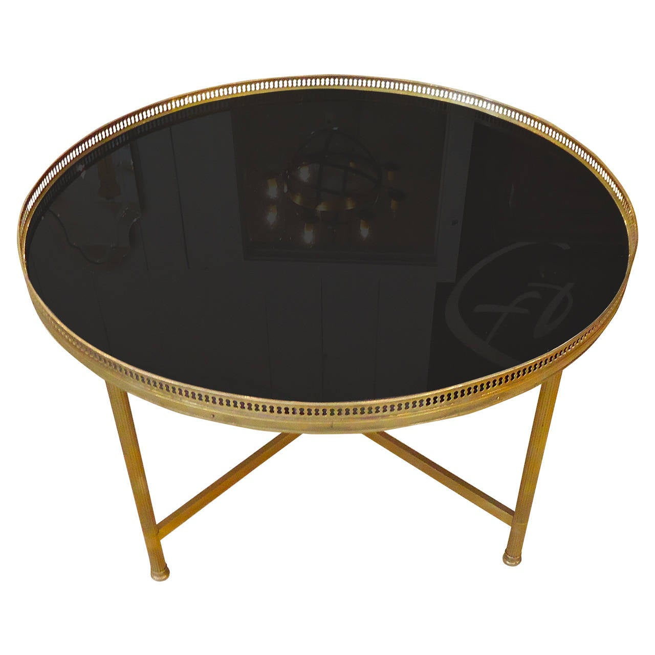 Maison jansen style bronze and black glass coffee table for Black glass coffee table