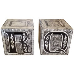 Rare Cube End or Coffee Tables by Famed Artist Edward Gorey
