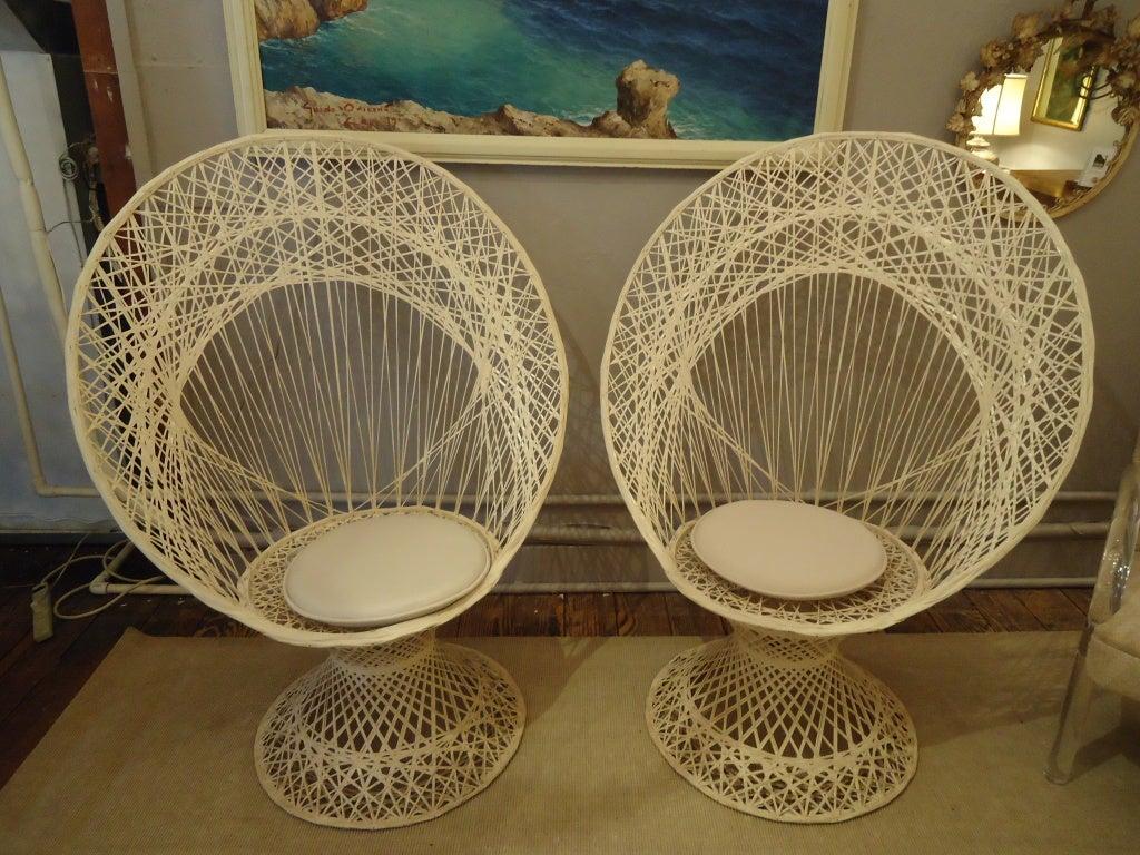 Pair Of Spun Fiberglass Outdoor Peacock Chairs At 1stdibs