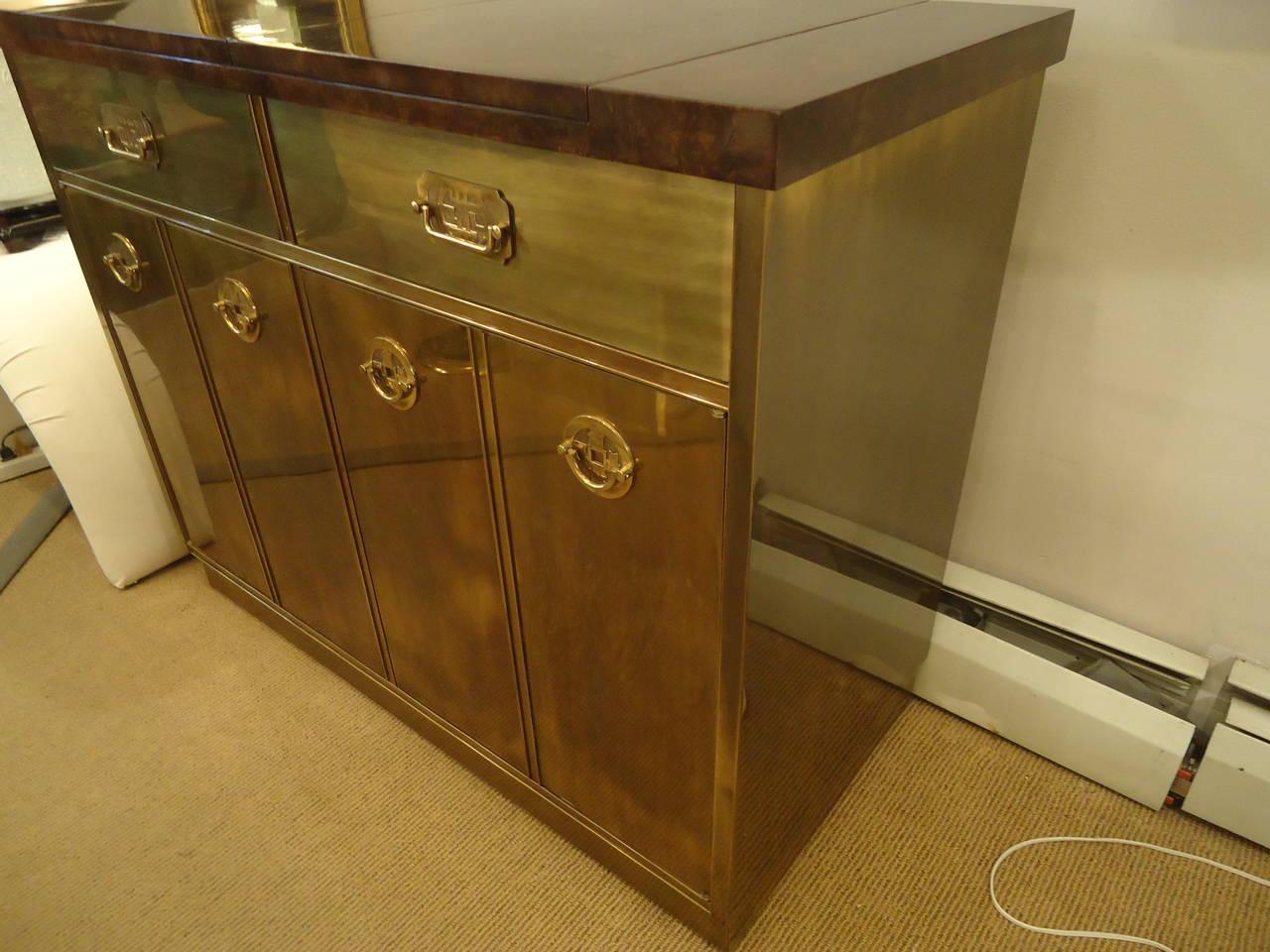 sensational mastercraft brass and burlwood bar cabinet at 1stdibs