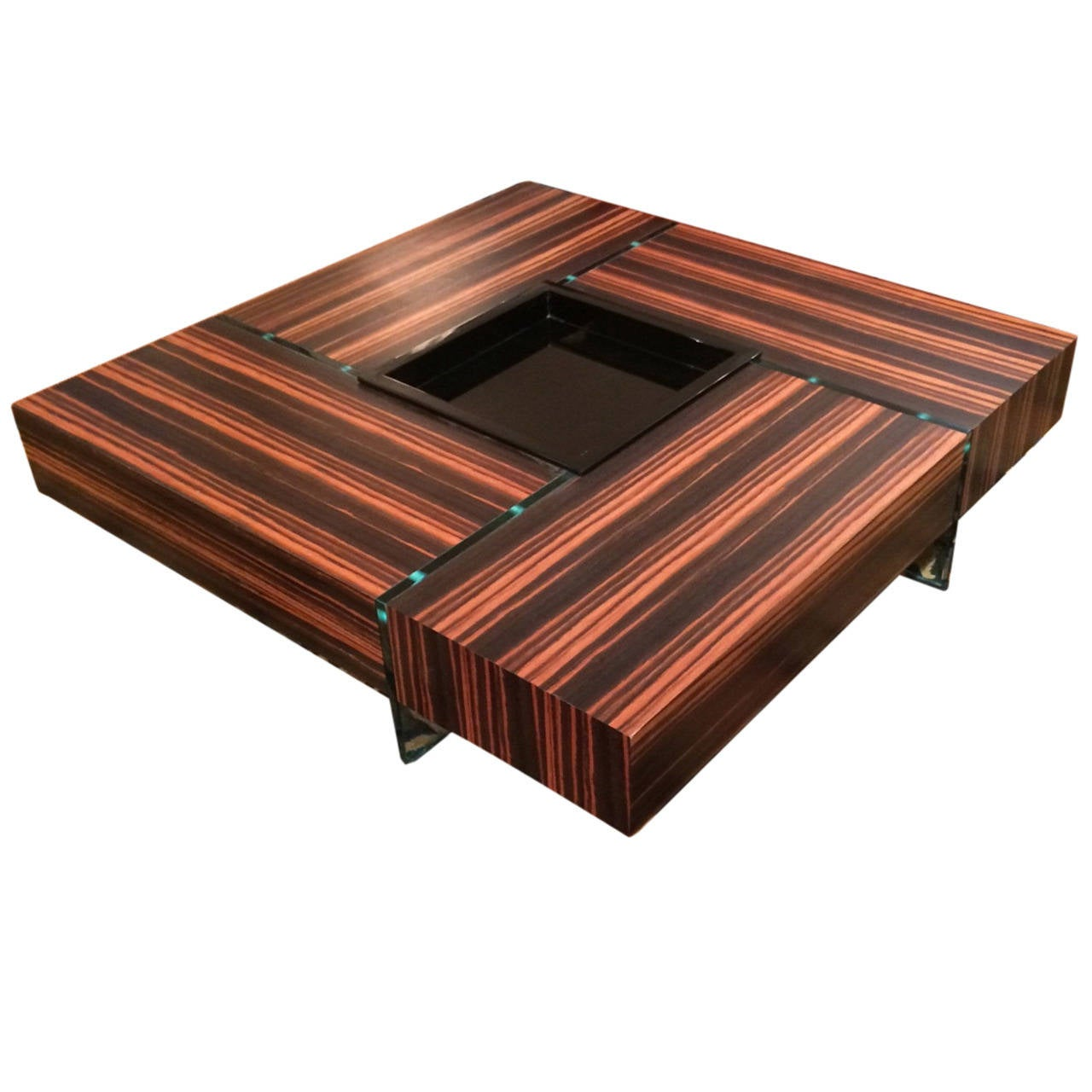 Chic rosewood and glass large square coffee table at 1stdibs Large glass coffee table