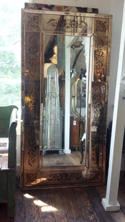 Elegant And Large Venetian Style Floor Mirror At 1stdibs