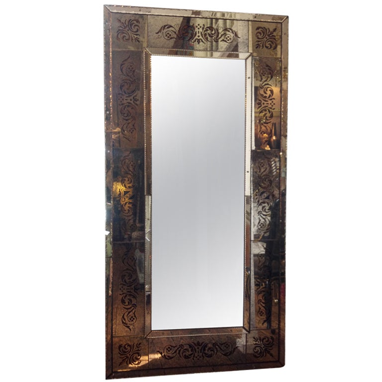 Elegant and large venetian style floor mirror at 1stdibs for Large floor mirror