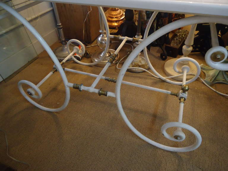 French Iron Brass And Milk Glass Bakers Table At 1stdibs