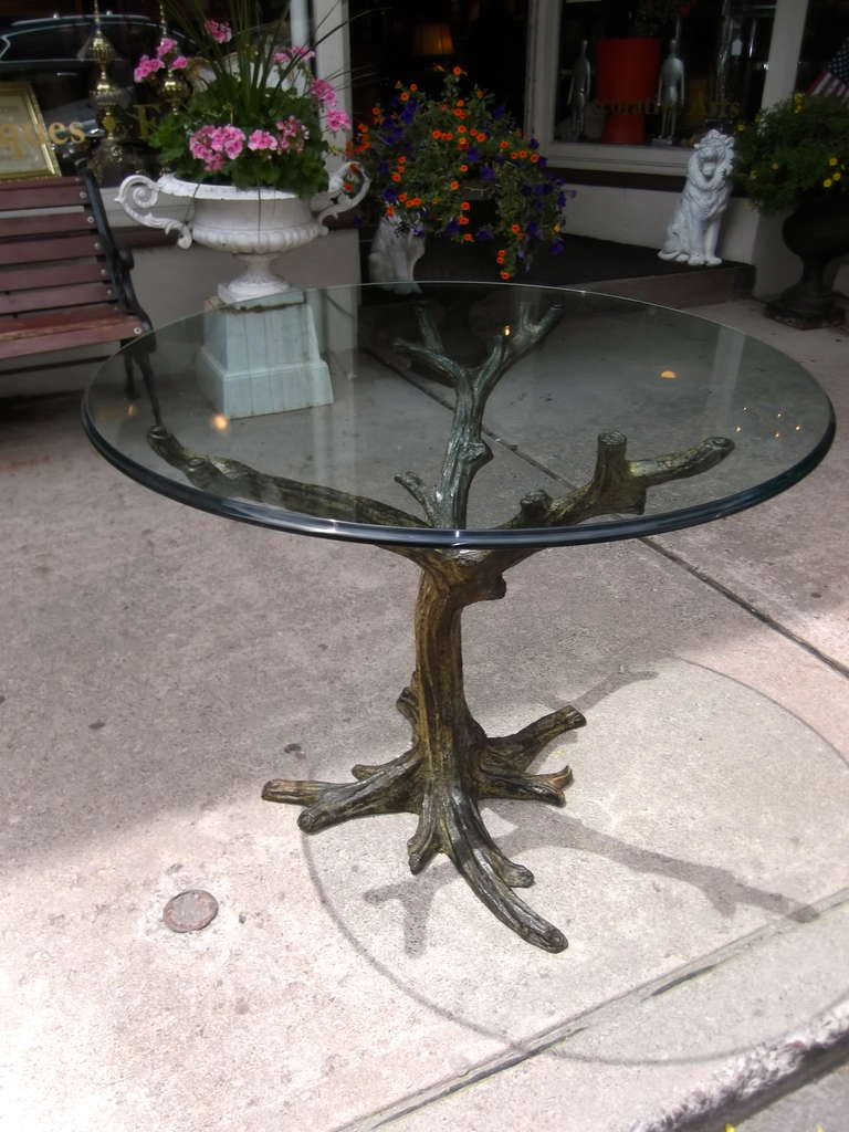 Faux bois bronze center hall round table at 1stdibs for Table 52 oak brook