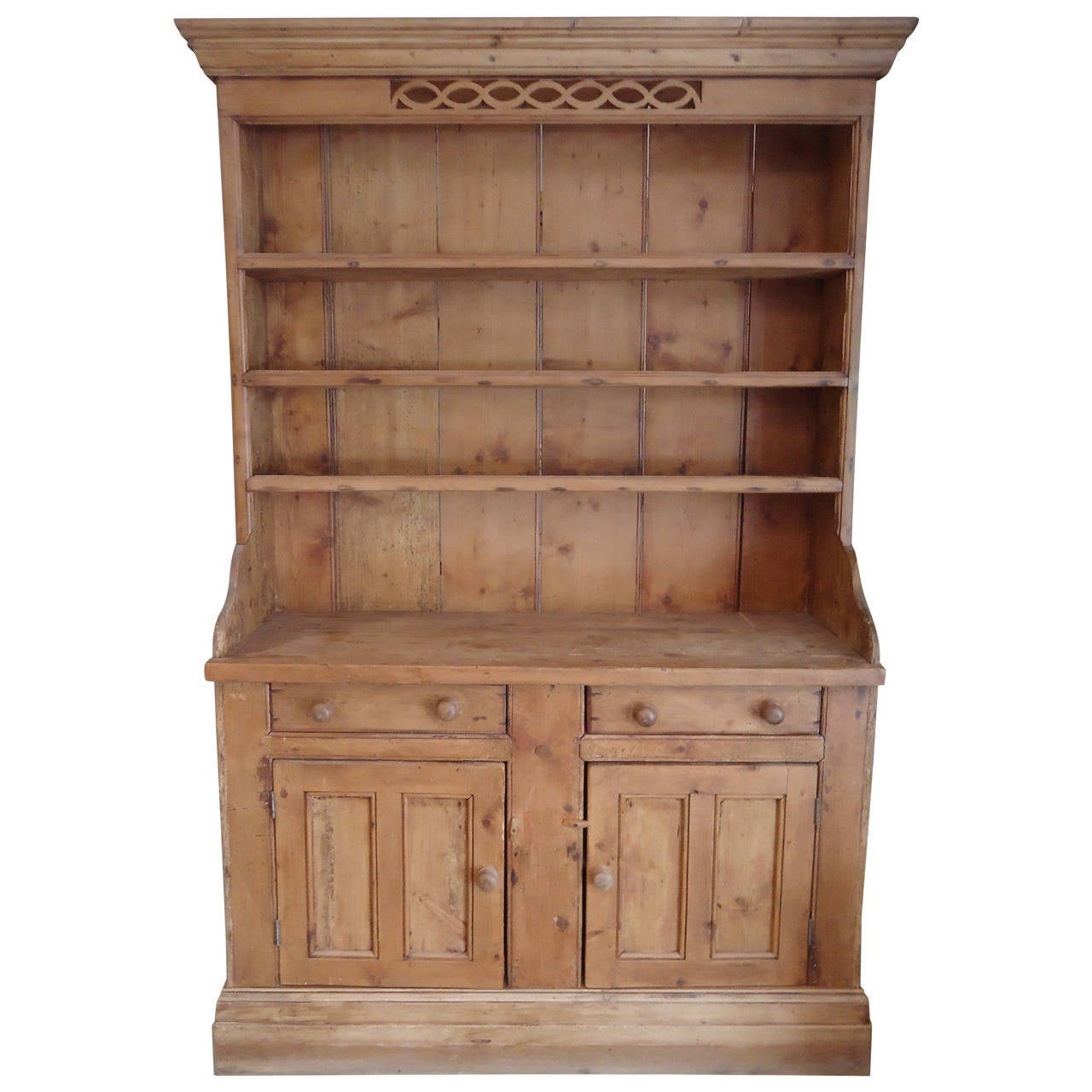 Rustic Irish Natural Wood Hutch Cabinet At 1stdibs