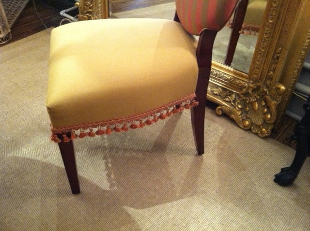 Six Custom Upholstered Shield Back Dining Chairs At 1stdibs