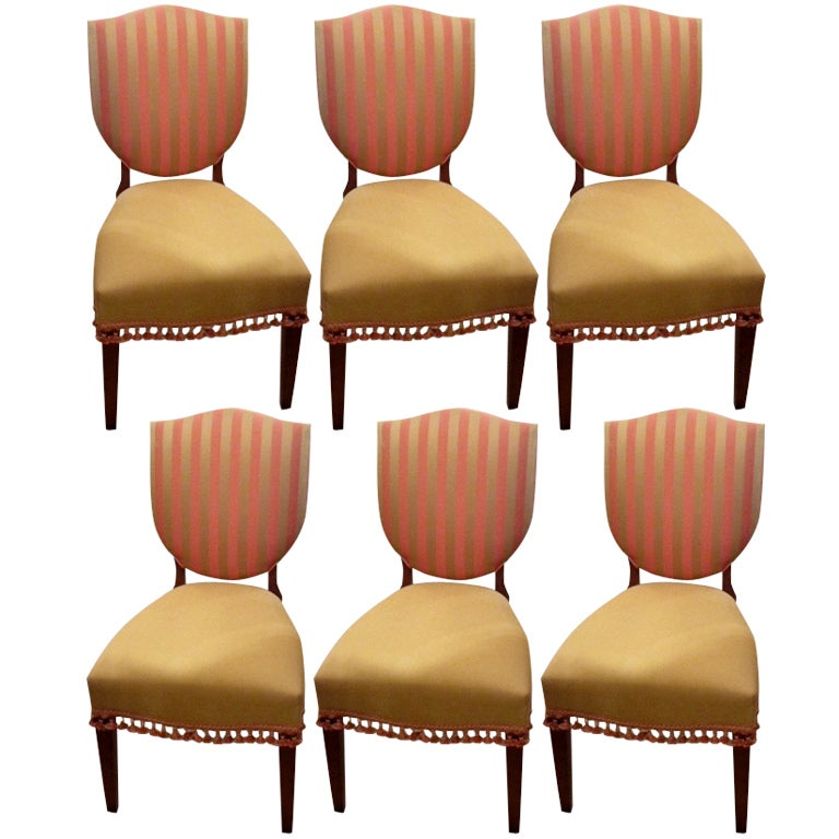 this six custom upholstered shield back dining chairs is no longer