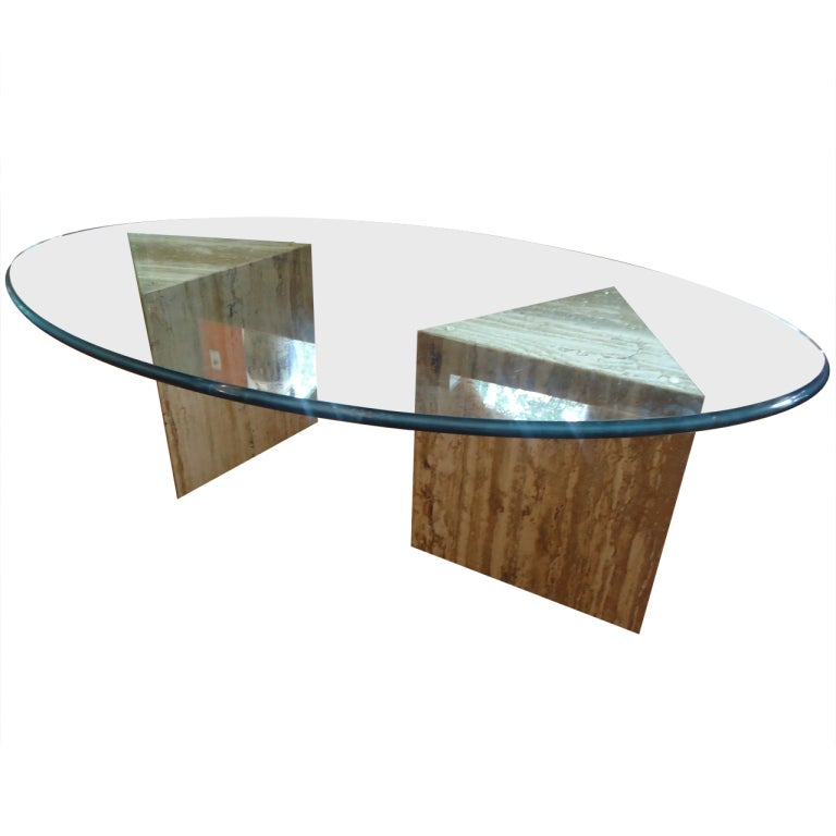 Midcentury Modern Oval Glass And Travertine Coffee Table At 1stdibs
