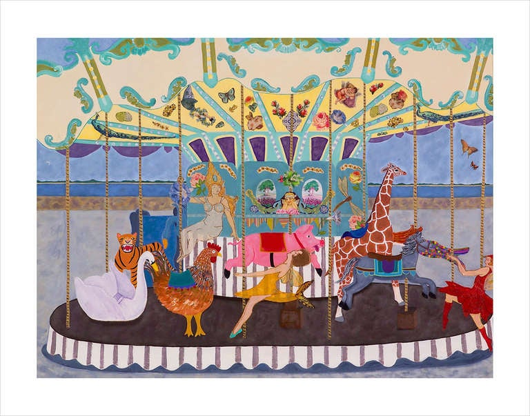 Very Large Meticulous and Magical Carousel Painting and Collage For Sale 4