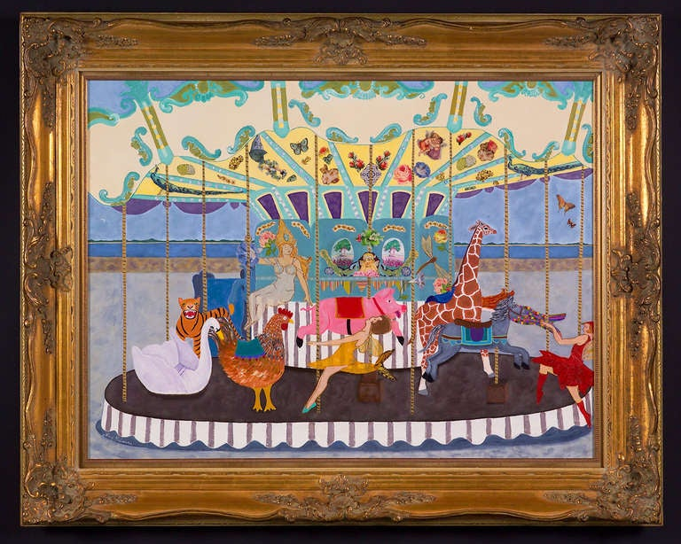 Large and enchanting, a whimsical mixed-media fantasy with acrylic, vintage crepe paper and antique Valentines. Inspired by a carousel in Ile de Re, France. One of a kind gilded wood frame bought at auction. Perfect for the playroom, child's room,